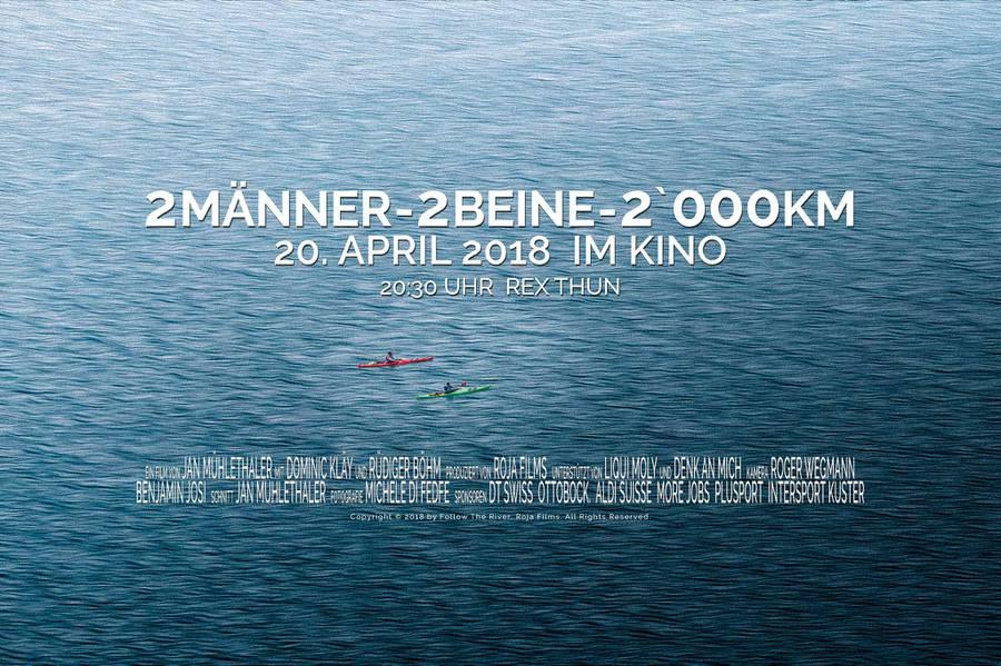 Das Plakat zum Film zeigt, wie zwei Männer auf Rheim im Kajak paddeln.