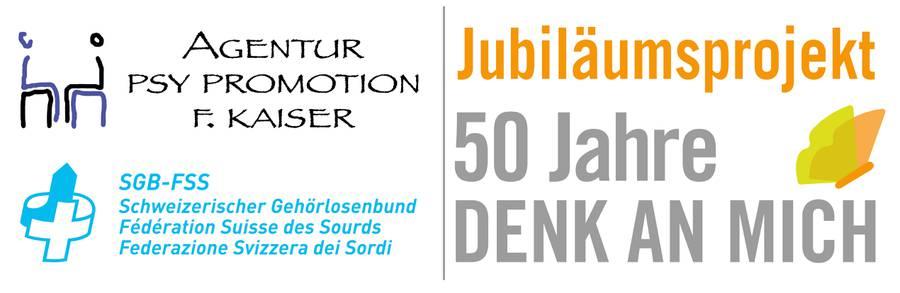 Jubiläumslogo von Psy Promotion und dem Schweizerischen Gehörlosenbund SGB - FFS