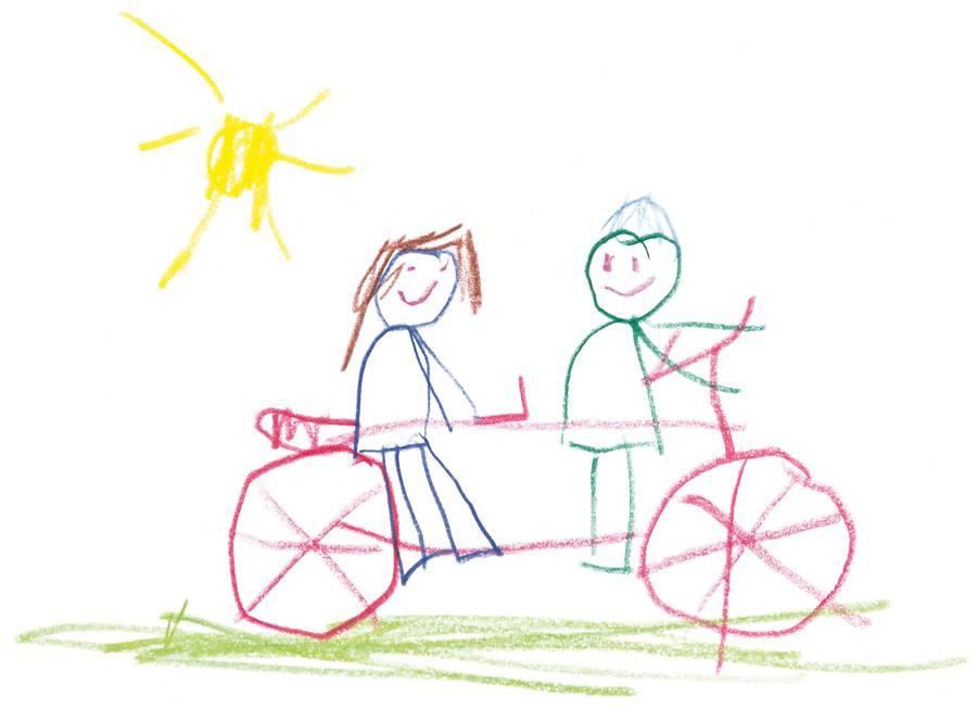 Zeichnung von Laura mit einem Tandem darauf.