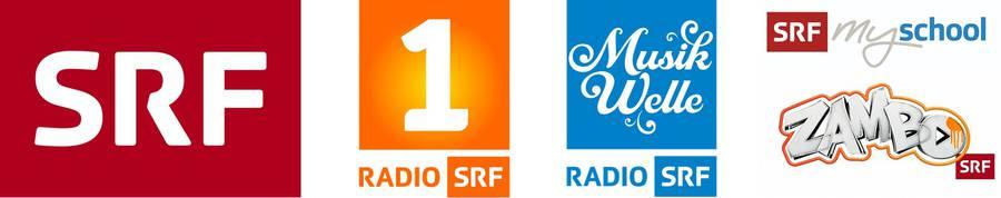 Verschiedene Logos der Sender des Schweizer Radio und Fernsehens SRF.